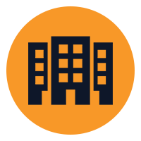 black cartoon buildings on a orange background