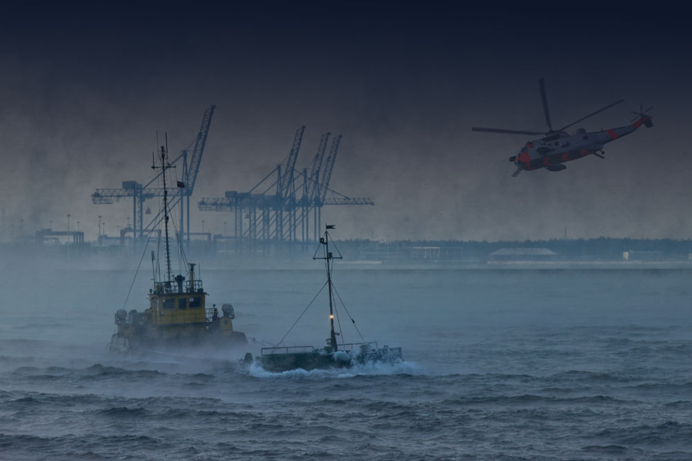 boats in the ocean with a helicopter above them and the docks in the distance