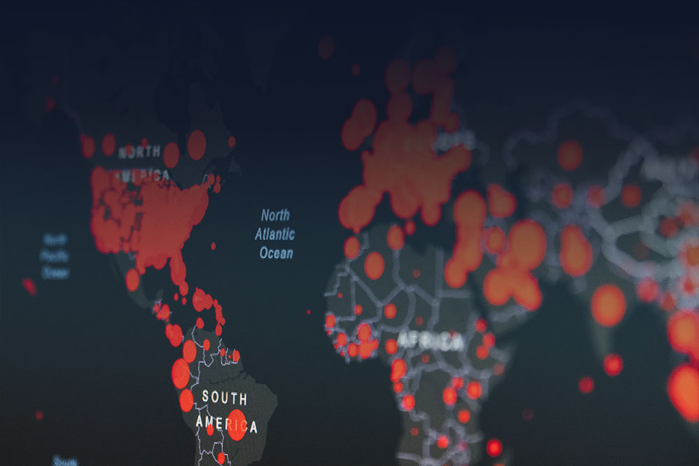 digital map of the world with red dots on the continents