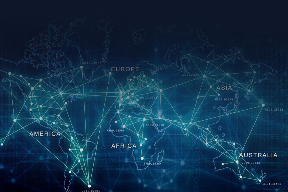 blue digital map of the world showing the different continents