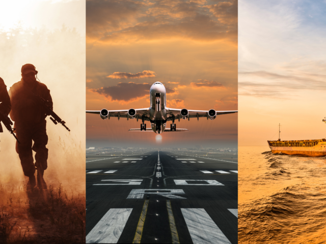 image of military men a plane and a ship